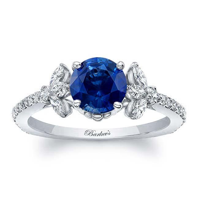 Sapphire Leaf Engagement Ring
