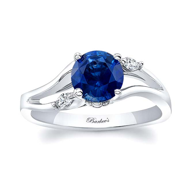 V Shaped Sapphire And Diamond Ring