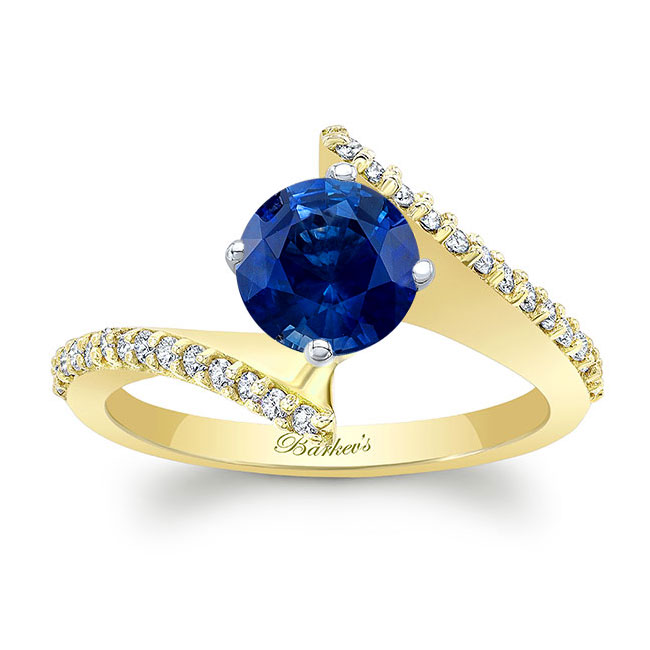 Modern Bypass Sapphire Engagement Ring Image 1