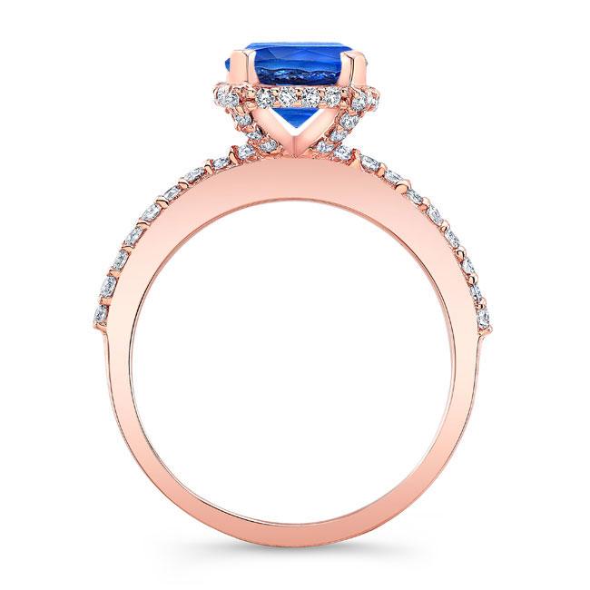 Blue Sapphire Hidden Halo Ring Image 2