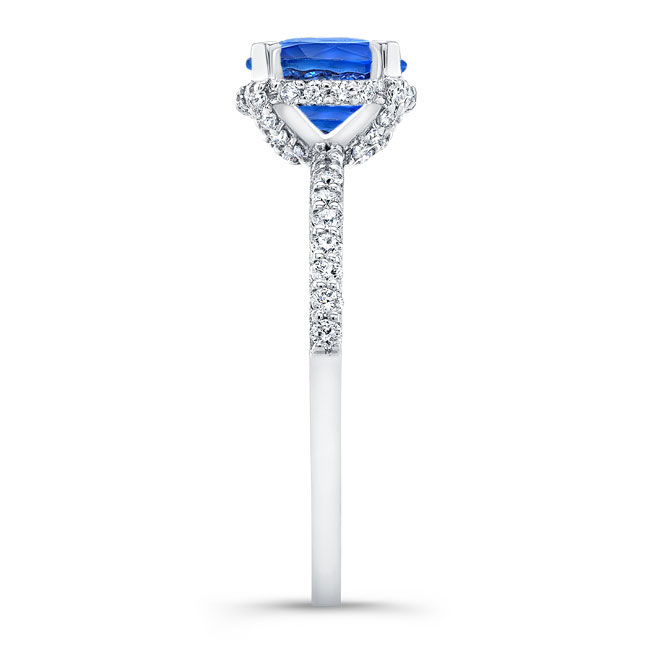 Blue Sapphire Hidden Halo Ring Image 3