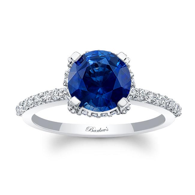 Blue Sapphire Hidden Halo Ring