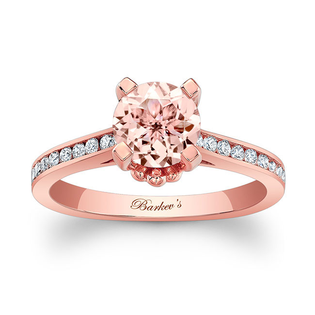 Morganite And Channel Set Diamond Ring