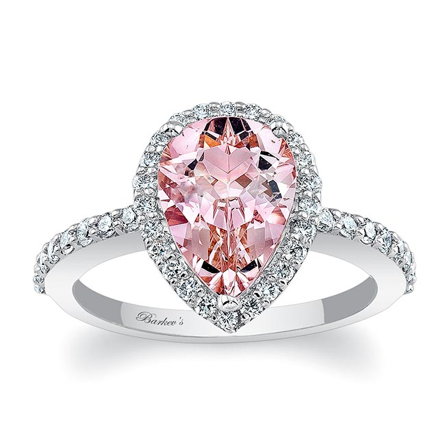 Pear Shape Morganite Engagement Ring MOC-7994L