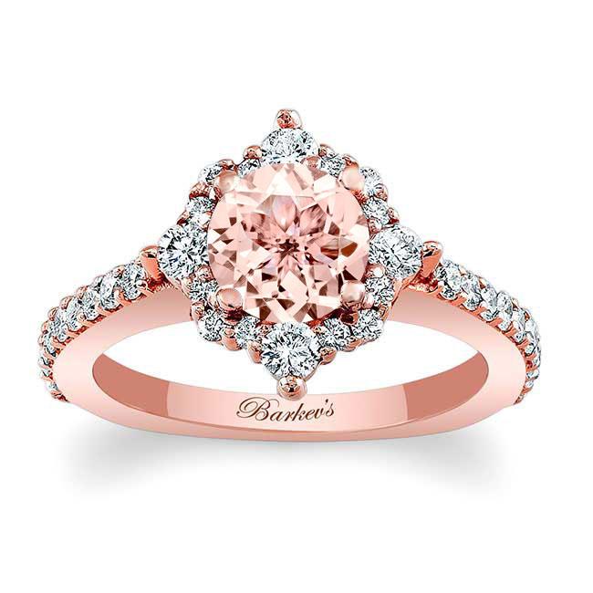 Halo Diamond & Morganite Engagement Ring MOC-7995L