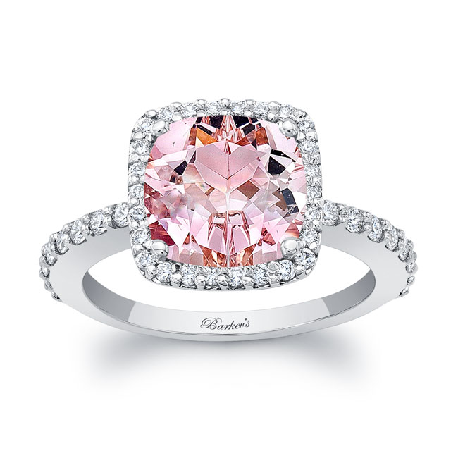 Cushion Cut Morganite Engagement Ring MOC-8025L