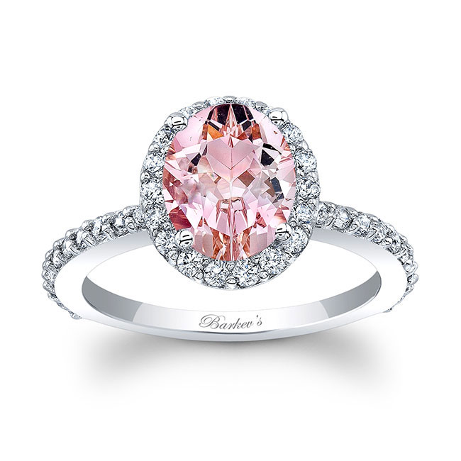 2 Carat Oval Morganite Halo Engagement Ring Image 1