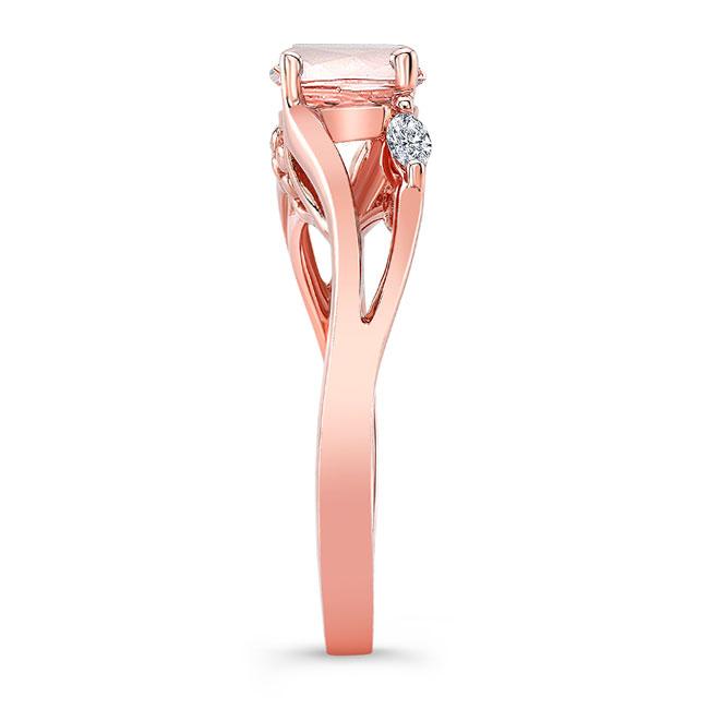 V Shaped Morganite And Diamond Ring Image 3