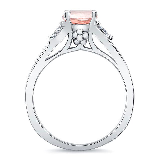 V Shaped Morganite And Diamond Ring Image 2
