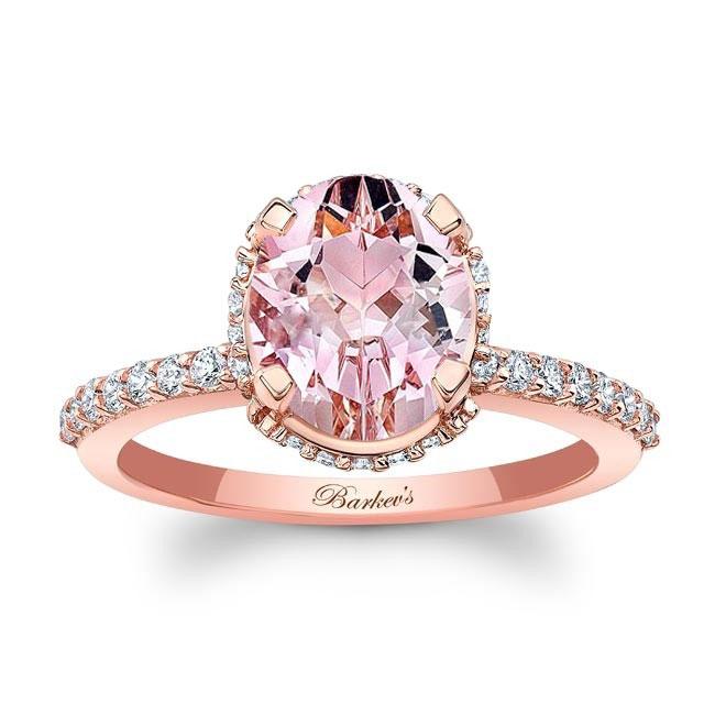 Hidden Halo Oval Morganite Engagement Ring