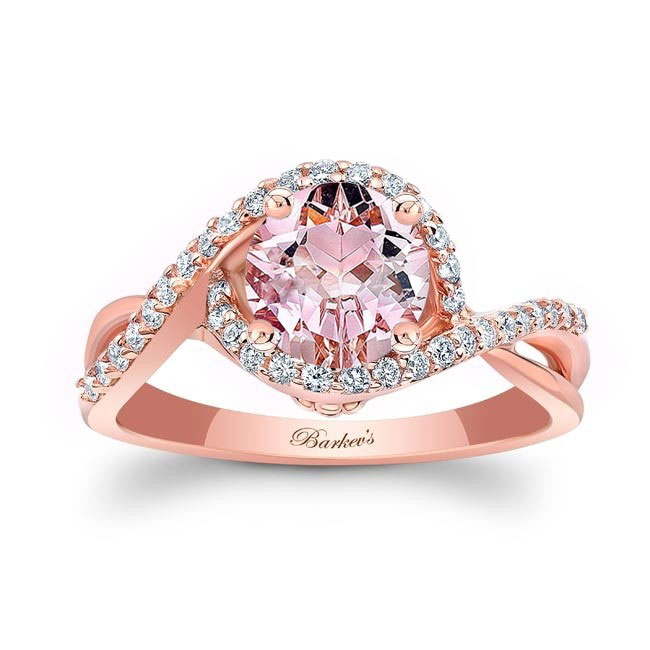 Twisted Halo Morganite Engagement Ring