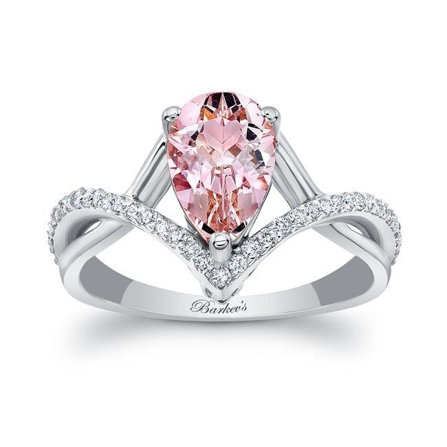 Unique Pear Shaped Morganite Ring