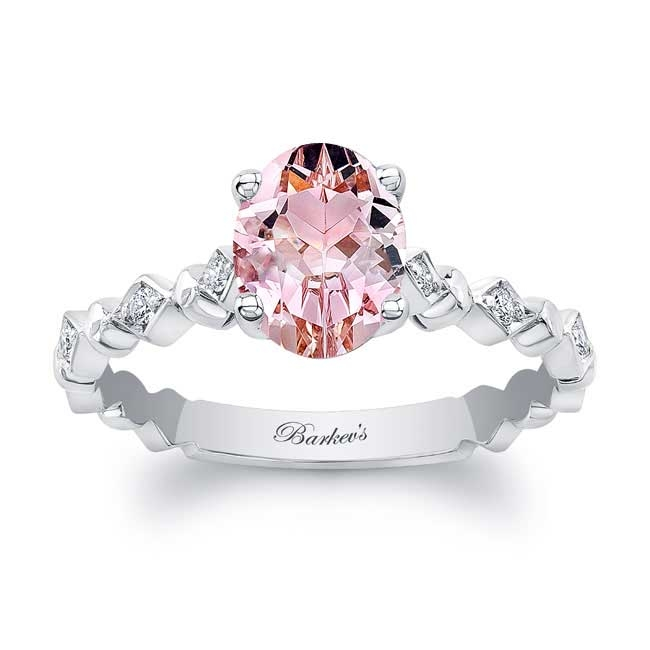 Art Deco Oval Morganite Engagement Ring