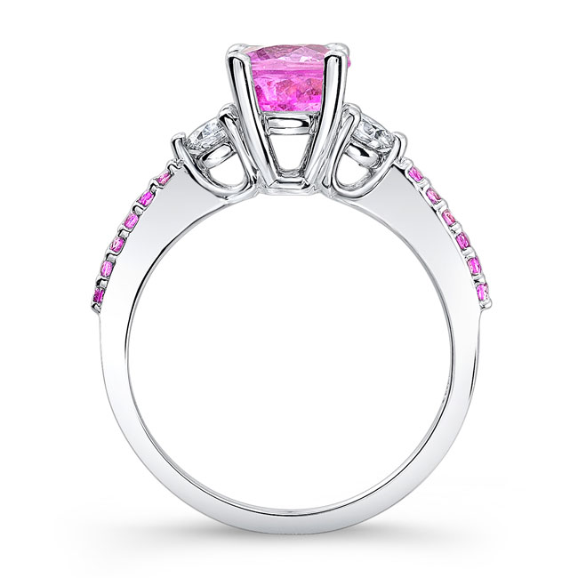 3 Stone Pink Sapphire Engagement Ring Image 2