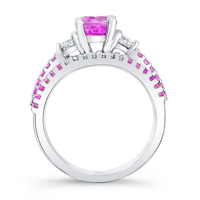 3 Stone Pink Sapphire Engagement Set Image 2