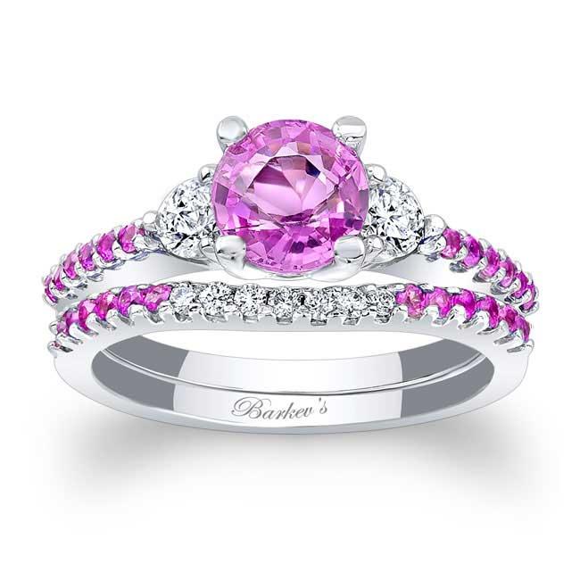 3 Stone Pink Sapphire Engagement Set Image 1