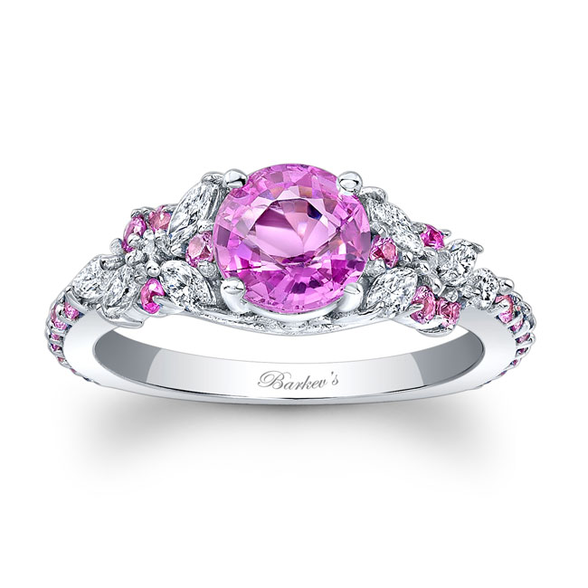 Vintage Marquise Pink Sapphire Engagement Ring