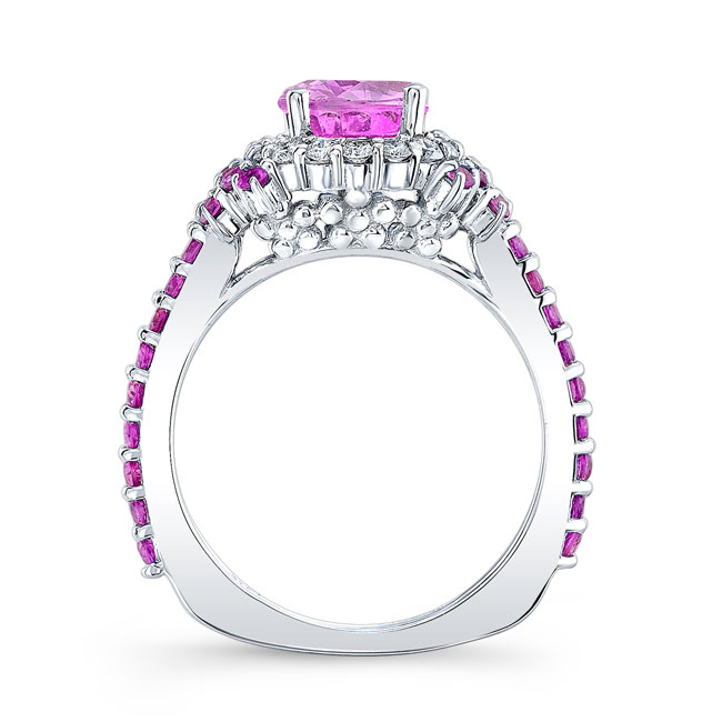 Pink Sapphire Cluster Ring Image 2