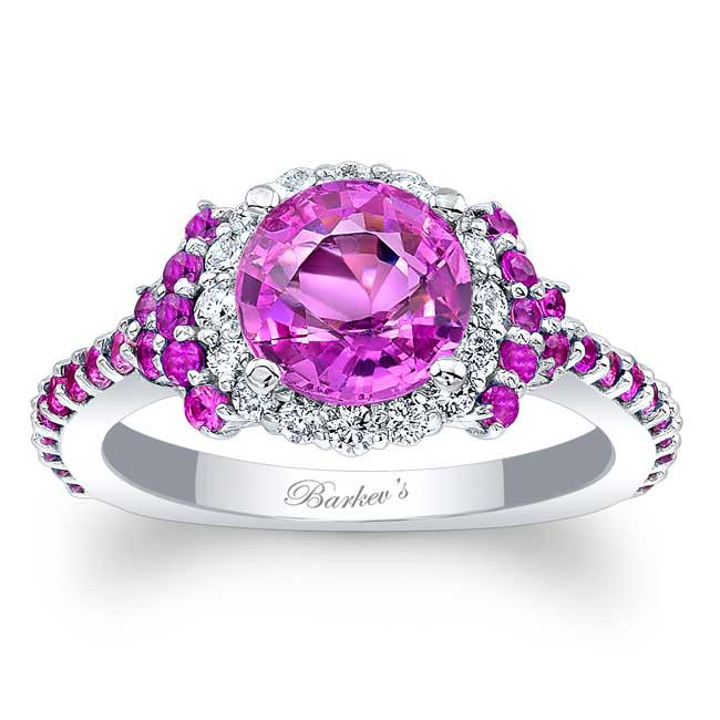 Pink Sapphire Cluster Ring Image 1