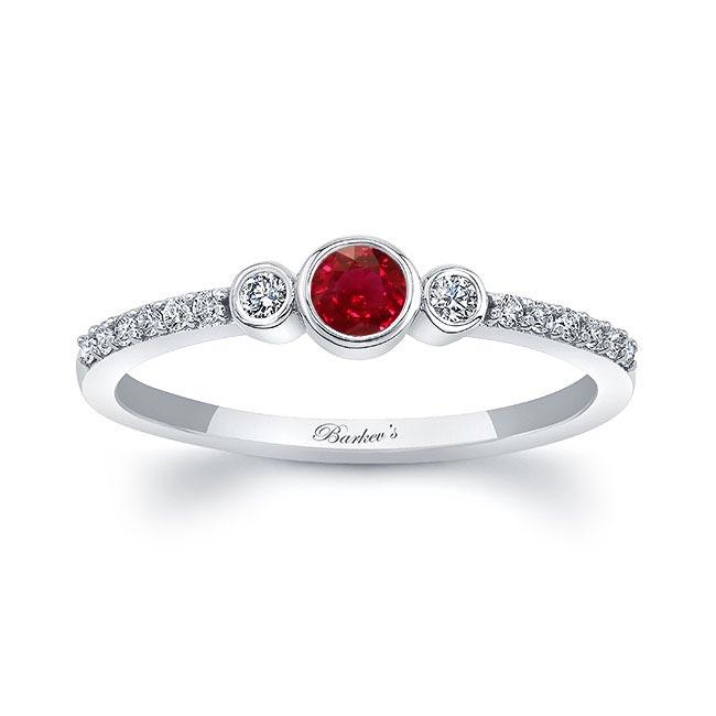 Mia Ruby Three Stone Diamond Promise Ring Image 1