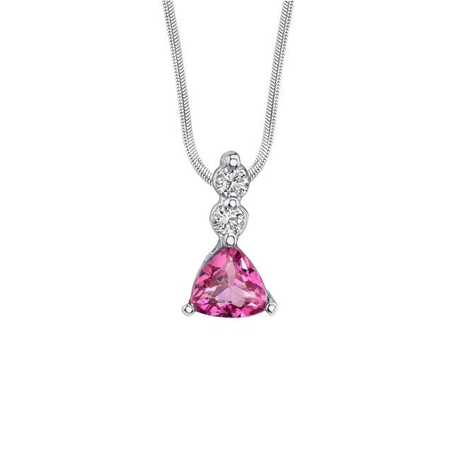 Trillion Cut Pink Tourmaline Necklace 5380N