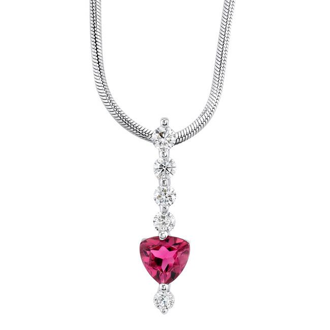 Pink Tourmaline & Diamond Necklace 5918N