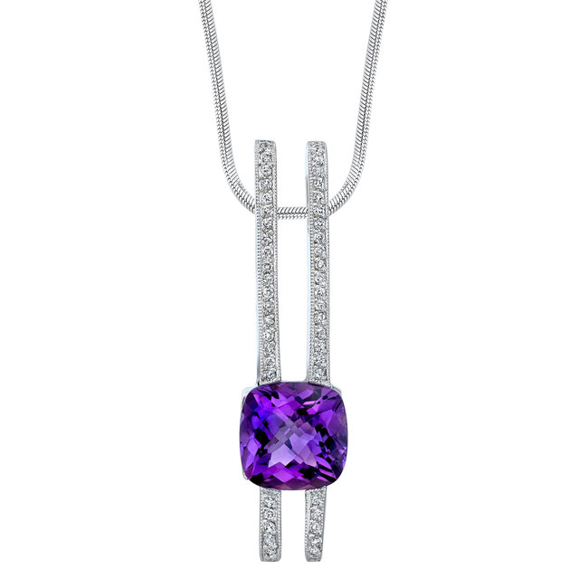 Amethyst and diamond Necklace 6763N