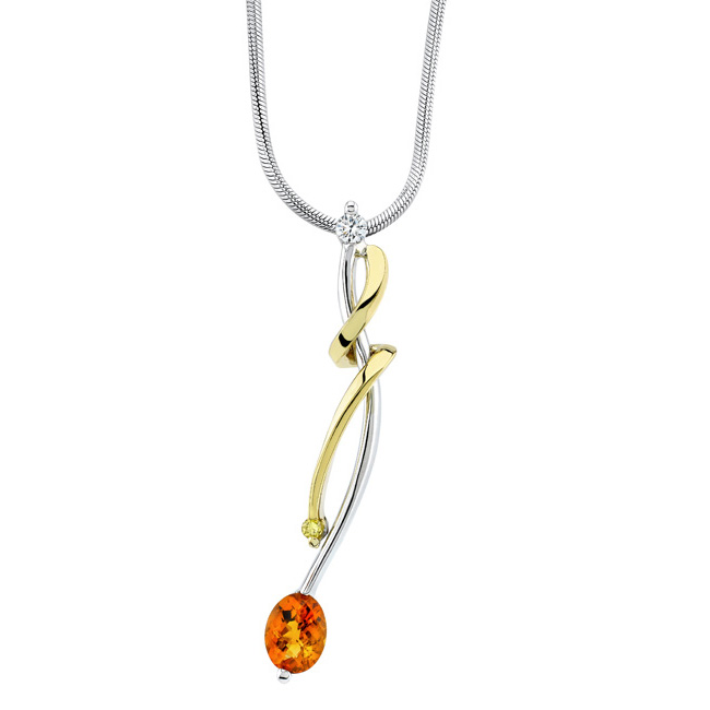 White & Yellow Gold Madeira Citrine Necklace 6847N
