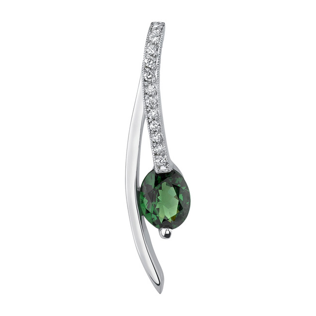 White Gold Green Tourmaline Necklace 6860N