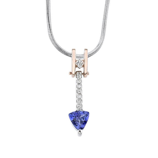 Two Tone Tanzanite & Diamond Necklace 6871N