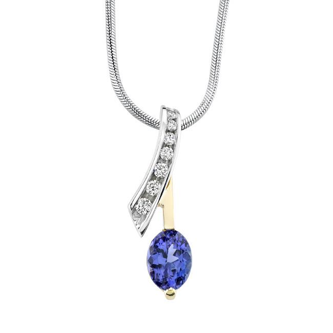 Two tone diamond & tanzanite Necklace 6872N