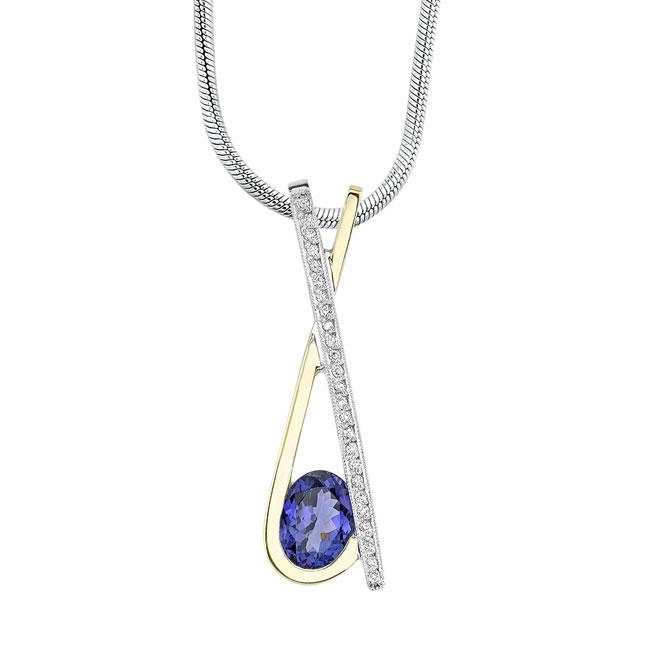 Two Tone Tanzanite & Diamond Necklace 6886N