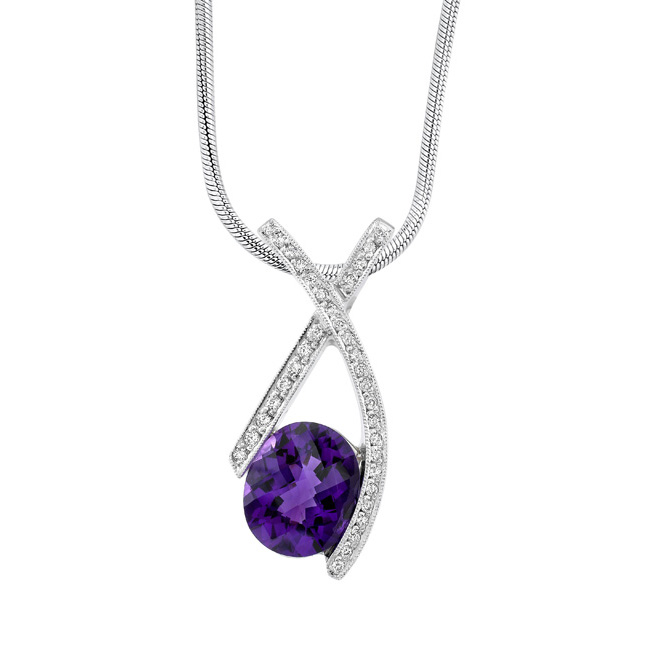 White gold diamond & amethyst Necklace 7042N