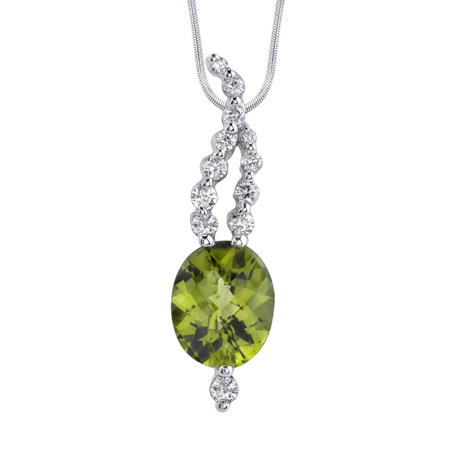 White Gold Peridot Necklace 7404N