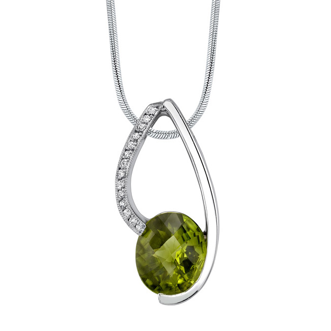 White Gold Peridot Necklace 7417N