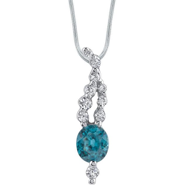 White gold diamond & blue topaz Necklace 7419N