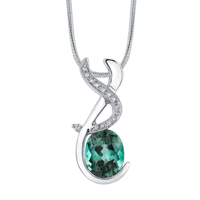 White Gold Green Tourmaline Necklace 7420N