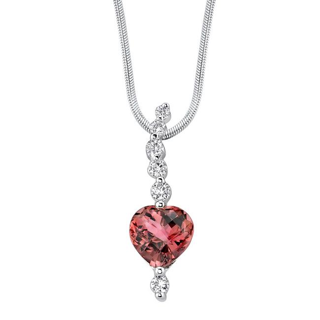 White Gold Diamond & Pink Tourmaline Necklace 7435N