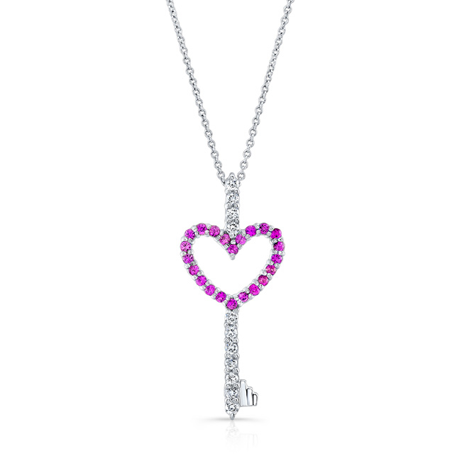 Pink Sapphire Heart Necklace 7957NPS