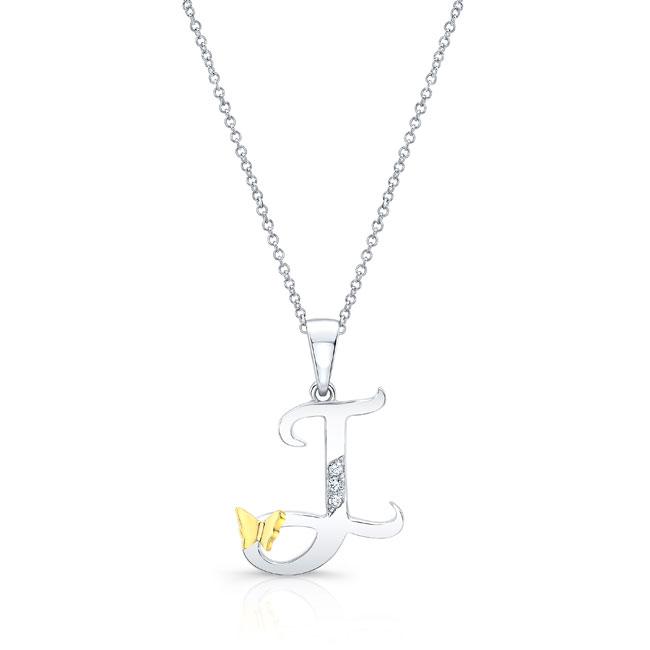 Initial J Diamond Necklace 8113N-J