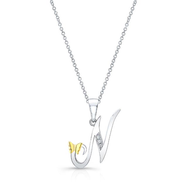 Initial N Diamond Necklace 8113N-N