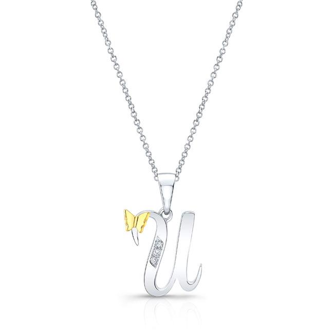 Initial U Diamond Necklace 8113N-U