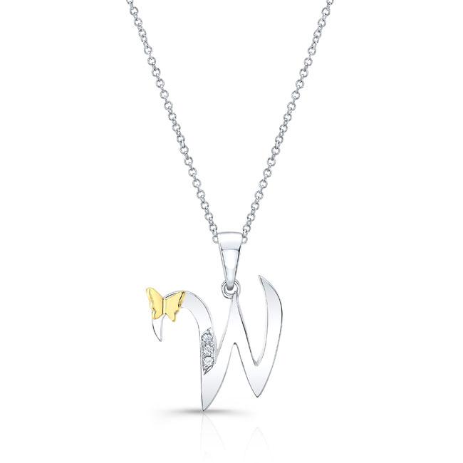 Initial W Diamond Necklace 8113N-W Image 1