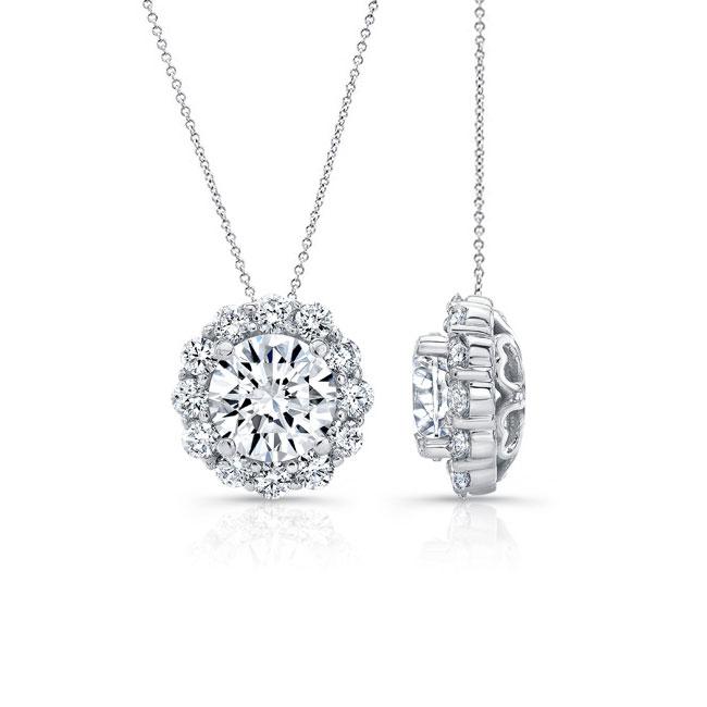 Diamond Halo Necklace 8125N Image 2