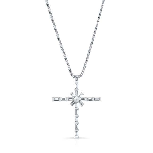 Unique White Gold Baguette Diamond Cross Pendant 8209N