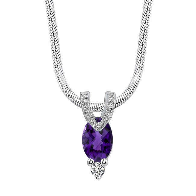 White Gold Amethyst Necklace AM-6889N