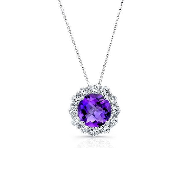 Amethyst & Diamond Halo Necklace AM-8125N