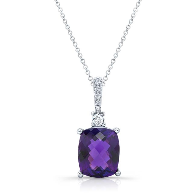 White Gold Amethyst and Diamond Necklace AM-8170N