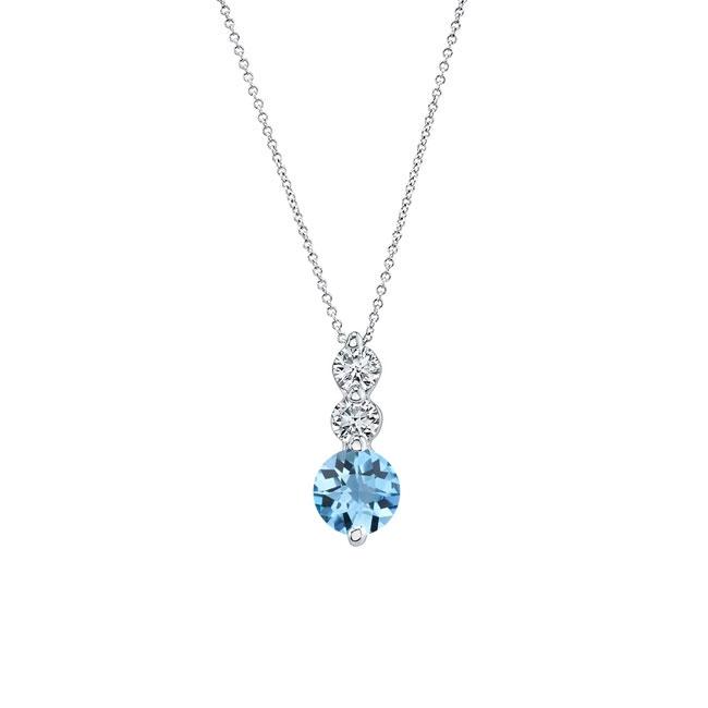 Aquamarine & Diamond Necklace AQ-5593N