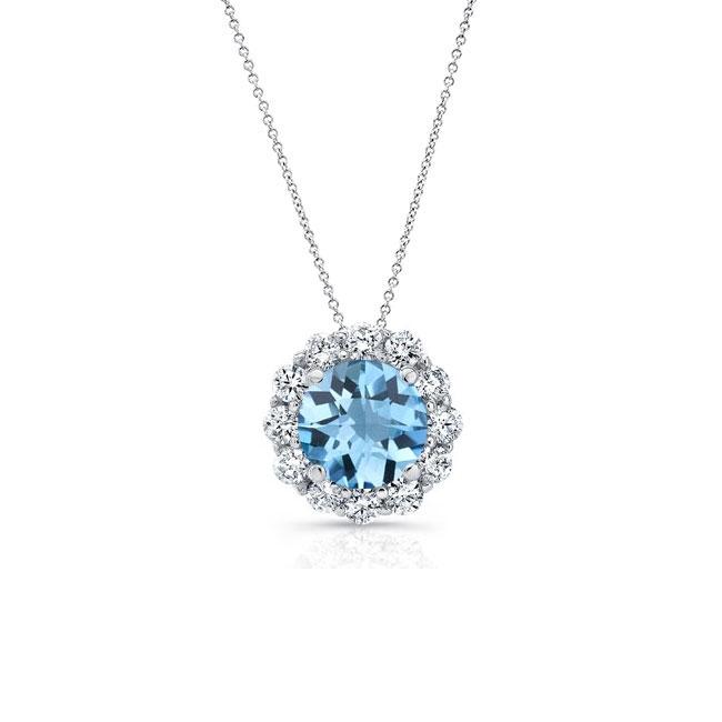 Aquamarine & Diamond Halo Necklace AQ-8125N